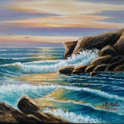 Paisaje marina, óleo sobre lienzo.