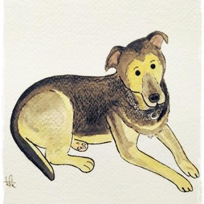 Ilustración mascota Laika Comic